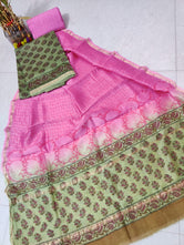 Pink Flower Print Hand Block Chanderi Unstitched Suit Set with Cotton Bottom