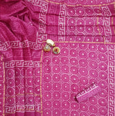 Pink Chakra Print Hand Block Chanderi Unstitched Suit Set with Cotton Bottom