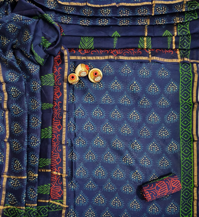 Dark Blue Leaf Print Hand Block Chanderi Unstitched Suit Set with Cotton Bottom