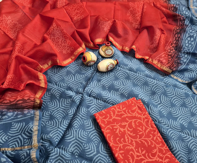 Red & Grey Leaf Print Hand Block Chanderi Unstitched Suit Set with Cotton Bottom