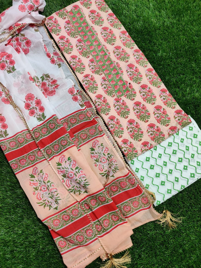 Peach Flower Print Cotton Unstitched Suit Set with Cotton Dupatta