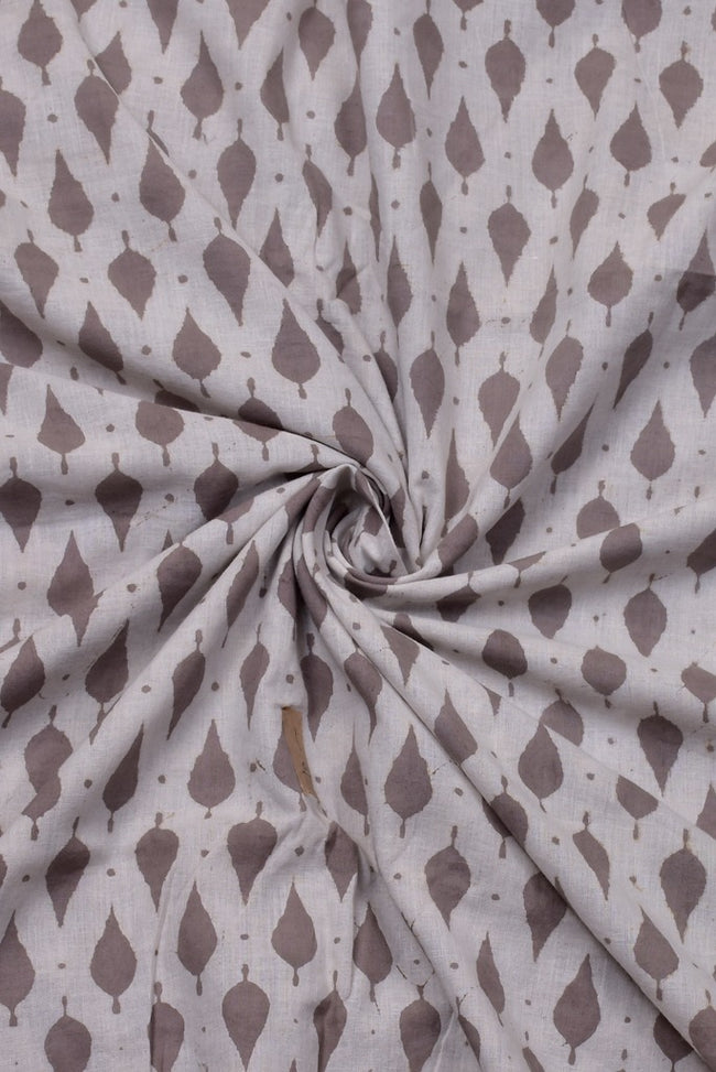 Light Brown Leaf Print Cotton Fabric
