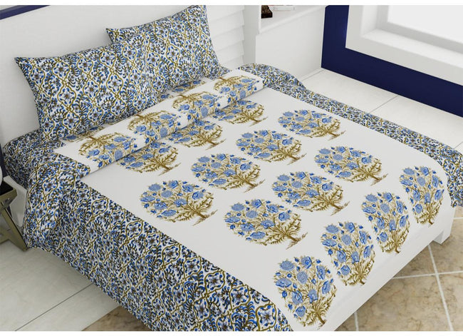 Very Beautiful Blue Tree Print King Size Cotton Bed Sheet
