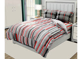 Red & Grey Stripes Print King Size Twil Cotton Bed Sheet