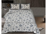Grey Flower Print King Size Cotton Bed Sheet
