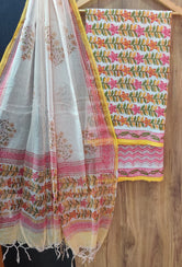 White and Pink Flower Print Cotton Suit Set with Kota Doria Duppatta