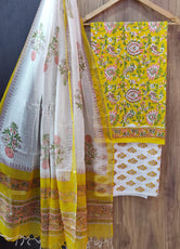 White and Yellow Flower Print Cotton Suit Set with Kota Doria Duppatta