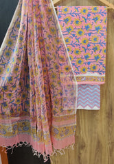 Pink Flower Print Cotton Suit Set with Kota Doria Duppatta