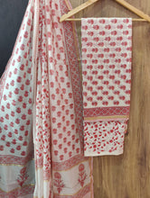 White and Dark Pink Flower Print Chanderi Unstitched Suit Set with Cotton Bottom