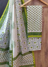 White with Light Green Flower Print Chanderi Unstitched Suit Set with Cotton Bottom