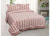 Beautiful Pink Boota Print King Size Cotton Bed Sheet