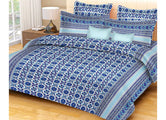 Beautiful Blue Flower Print King Size Cotton Bed Sheet