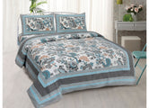 Very Beautiful Sky Blue and Orange Flower Print King Size Cotton Bed Sheet