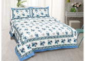 White Base Blue Flower Print King Size Cotton Bed Sheet