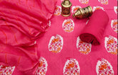 Red Flower Print Cotton Suit Set with Kota Doria Duppatta