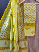 Yellow Flower Print Chanderi Unstitched Suit Set with Cotton Bottom