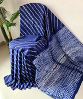 Blue Stripes Print Cotton Mul Mul Saree with Blouse