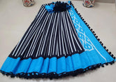 Blue Stripes Print Cotton Mul Mul Saree with Blouse and Pom Pom Lace