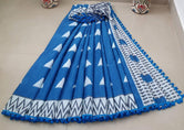 Blue Zig Zag Print Cotton Mul Mul Saree with Blouse and Pom Pom Lace