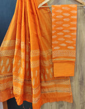 Orange Leaf Print Chanderi Unstitched Suit Set with Cotton Bottom