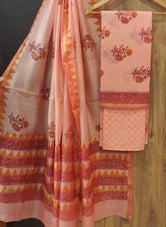 Peach Flower Print Chanderi Unstitched Suit Set with Cotton Bottom