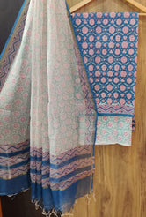 Blue Leaf Print Chanderi Unstitched Suit Set with Cotton Bottom