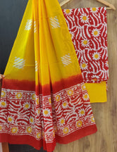 Yellow & Red Flower Print Cotton Unstitched Suit Set with Cotton Dupatta