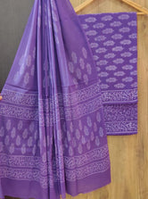 Violet Leaf Print Cotton Unstitched Suit Set with Cotton Dupatta