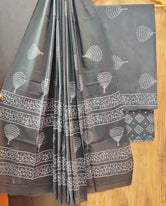 Grey Tree Print Cotton Unstitched Suit Set with Cotton Dupatta