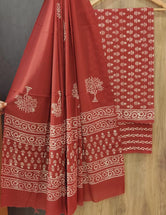 Red Tree Print Cotton Unstitched Suit Set with Cotton Dupatta