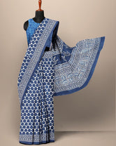 Blue Leaf Print Cotton Mul Mul Saree with Blouse