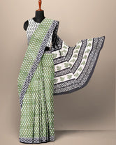 Green Leaf Print Cotton Mul Mul Saree with Blouse