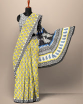 Yellow Leaf Print Cotton Mul Mul Saree with Blouse