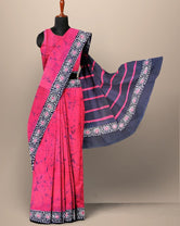Dark Pink Abstract Print Cotton Mul Mul Saree with Blouse