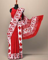 Red Abstract Print Cotton Mul Mul Saree with Blouse