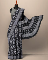 Black Print Cotton Mul Mul Saree with Blouse