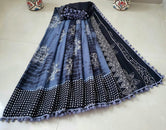 Blue Flower Print Cotton Mul Mul Saree with Blouse and Pom Pom Lace