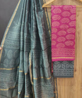 Gray & Pink Butta Print Chanderi Unstitched Suit Set with Chanderi Dupatta