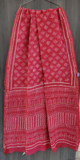 Red Flower Print Chanderi Saree with Blouse