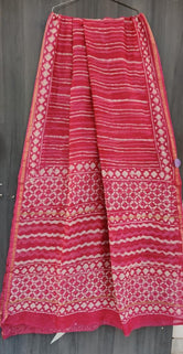 Red Stripes Print Chanderi Saree with Blouse