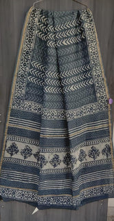 Gray Flower Print Chanderi Saree with Blouse