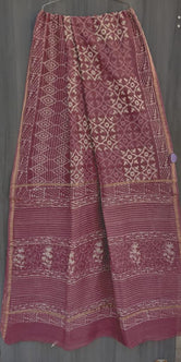 Dark Pink Flower Print Chanderi Saree with Blouse