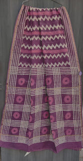 Violet Zig Zig Print Chanderi Saree with Blouse