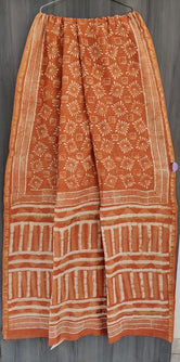 Peach Flower Print Chanderi Saree with Blouse