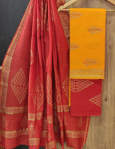 Red & Yellow Leaf Print Chanderi Unstitched Suit Set with Cotton Bottom