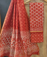 Red Flower Print Chanderi Unstitched Suit Set with Cotton Bottom