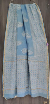 Sky Blue Leaf Print Chanderi Saree with Blouse