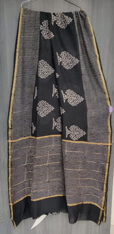 Black Tree Print Chanderi Saree with Blouse