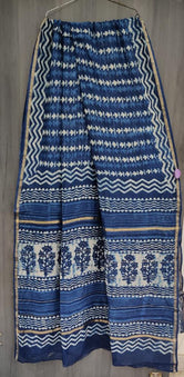 Blue Flower Print Chanderi Saree with Blouse