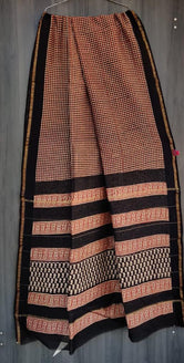 Red & Black Checks Print Chanderi Saree with Blouse